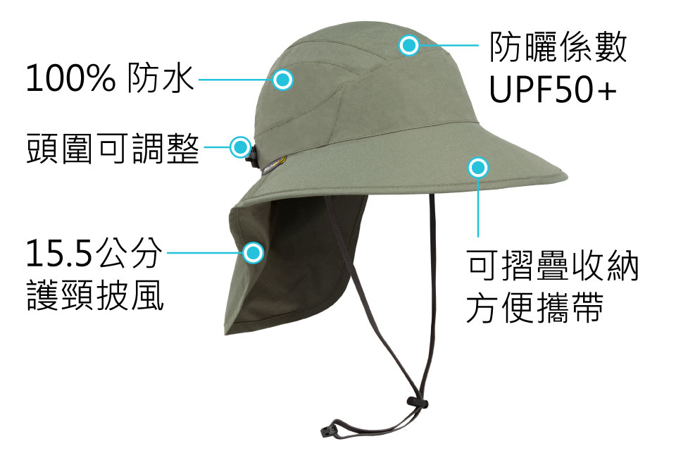 Sunday Afternoons 防水護頸圓盤帽 松樹綠 ULTRA ADVENTURE STORM HAT
